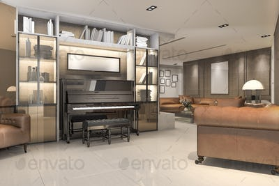 3d rendering classic warm living room with piano and armchair