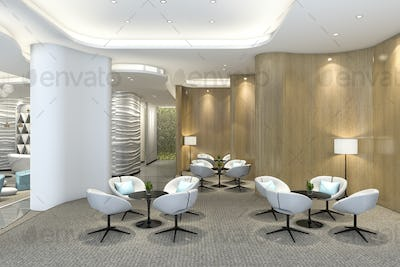 3d rendering cozy chair in luxury hotel lounge and reception