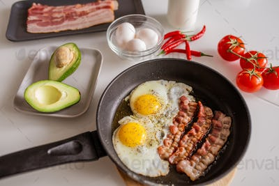 Frying pan with fried eggs and bacon, avocado, tomatoes and red hot chili pepper