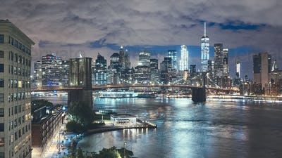 New York City seen from Brooklyn Dumbo at night, USA.