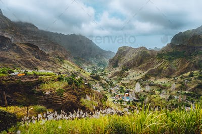 Gorgeous panorama view of a fertile Paul valley. Agriculture terraces in vertical valley sides