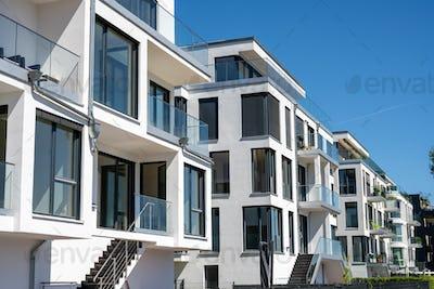 Modern white townhouses