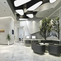 3d rendering modern luxury hotel reception and lounge office