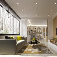 3d rendering minimal yellow modern living room with wood tv wall