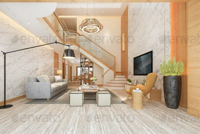 3d rendering white wood living room near stair and outdoor