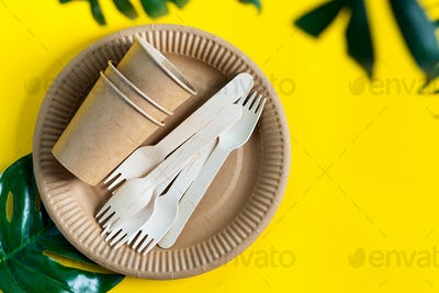 Eco friendly disposable set of dishware made from paper and wood on a yellow background with green