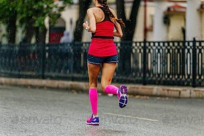 girl runner in compression socks run