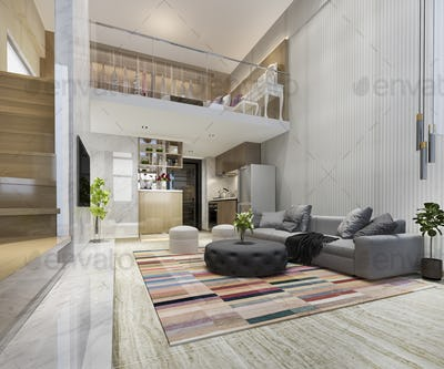 3d rendering white wood living room near bedroom upstair