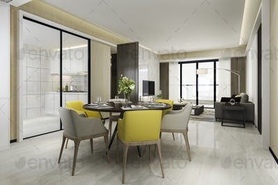3d rendering yellow chair and luxury kitchen with dining table and living room