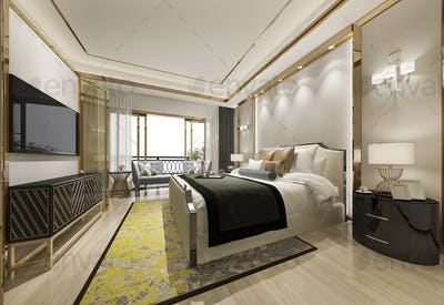 3d rendering classic beautiful luxury bedroom suite in hotel with tv and yellow carpet