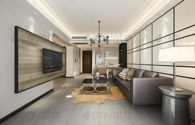 3d rendering modern dining room and kitchen with living room with luxury decor