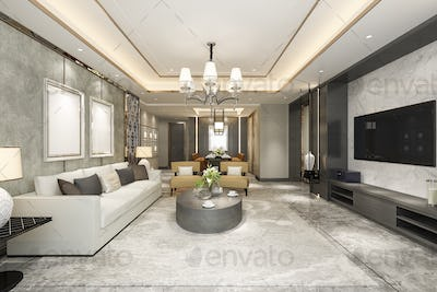 3d rendering beautiful modern dining room and living room with luxury decor