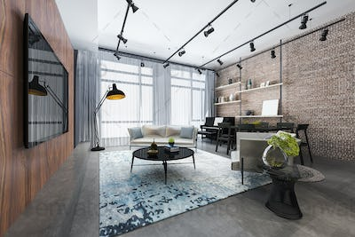 3d rendering loft luxury living room with shelf and piano and brick decor