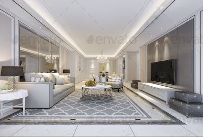 beautiful modern dining room and living room with luxury decor and fabric sofa near mirror