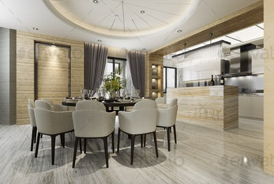 modern dining room and kitchen with living room with luxury decor near garden