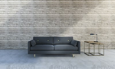 3d rendering beautiful blue sofa in front of wood background