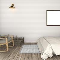 3d rendering beautiful white brick wall vintage bedroom
