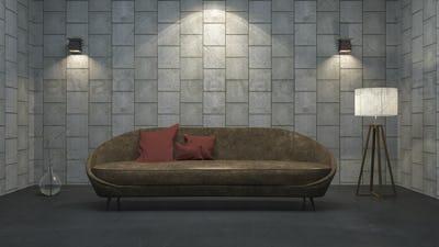 3d rendering leather sofa with red pillow in concrete texture room