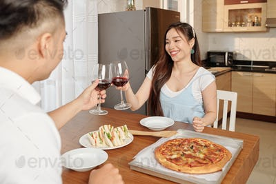 Romantic dinner at home