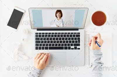 Telemedicine, video call to doctor, communication with medicine online.