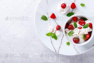 Eton Mess - Strawberries with whipped cream and meringue  Classic British summer dessert.