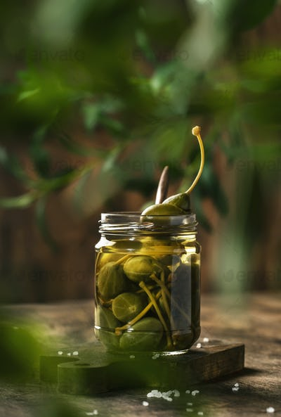 Marinated or pickled canned capers fruit