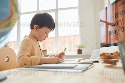 Cute Boy Studying in Online School