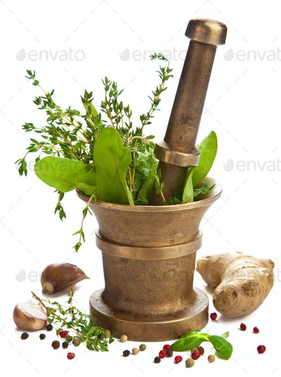 mortar with herbs isolated