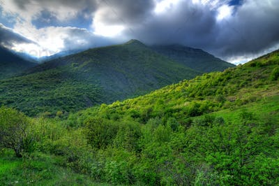 Picturesque view, rain clouds in mountains