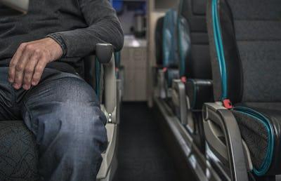 One Passenger Inside Modern Coach Bus