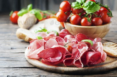 Antipasto with ham and bresaola