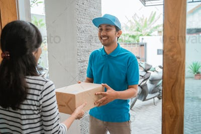 courier delivering package box