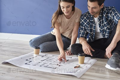 Couple sitting on floor and looking at house blueprint