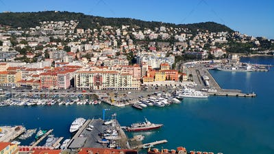 Beautiful view above Port of Nice on French Riviera, France