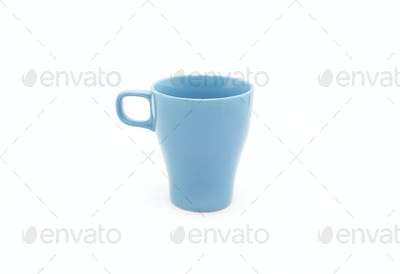 Bright blue ceramic cup isolated on white background