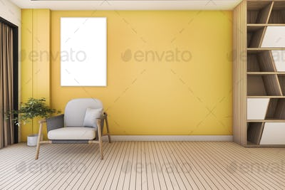 3d rendering vintage yellow living room with armchair and nice design