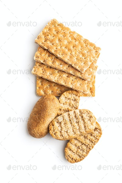 Rusk bread. Dried crispbread and knackebrot.