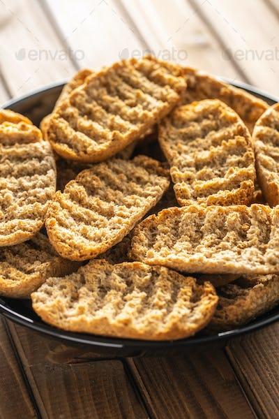Rusk bread. Dried crispbread.