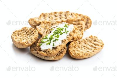 Crispbread with creamy cheese.