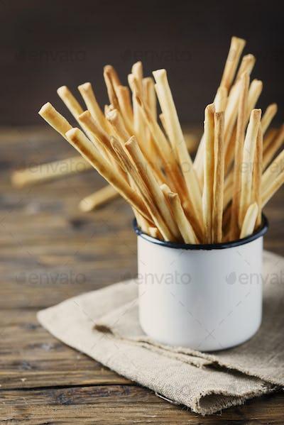 Traditional italian bread sticks Grissini