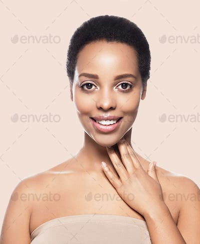 Black skin beauty woman healthy hair skin close afro american beautiful model with hands. On beige.