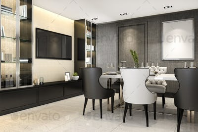 3d rendering dining room with tv console set decor
