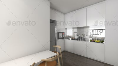 3d rendering kitchen in condominium idea with nice decoration