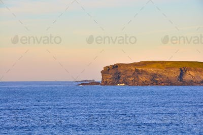 Sunny Cliffs of Kilkee in Ireland county Clare Sunset. Tourist destination