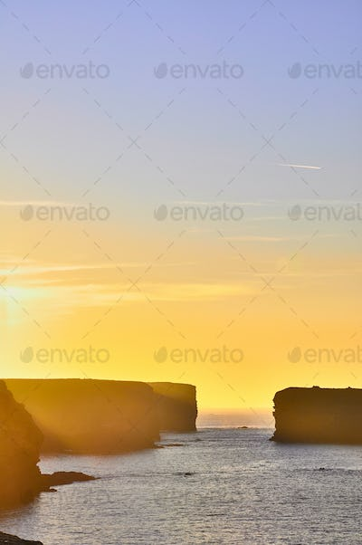 Cliffs of Kilkee in Ireland county Clare during sunset. Tourist destination