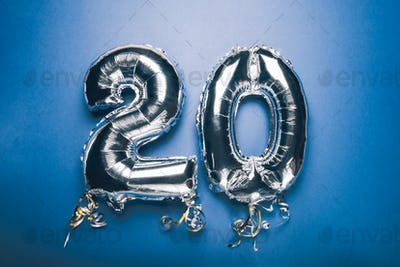 Silver Number Balloon 20