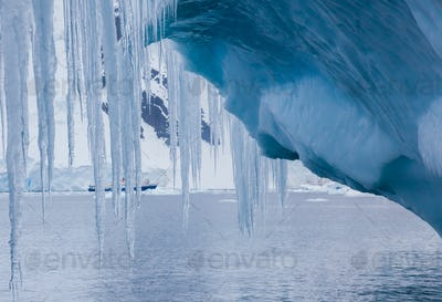 Icicles hanging from an iceberg, Antarctica