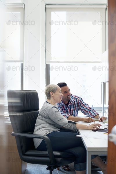 Two people, colleagues in an office looking at a computer screen.