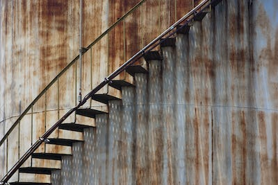 Staircase on a rusting iron structure, Puerto Rico
