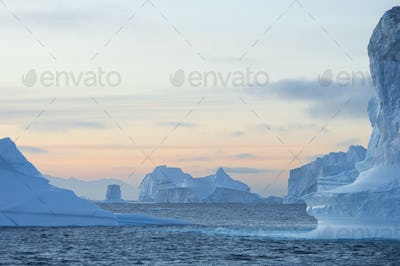 Sunset sky and floating icebergs with smooth eroded shapes on the waters of Scoresbysund Fjord.